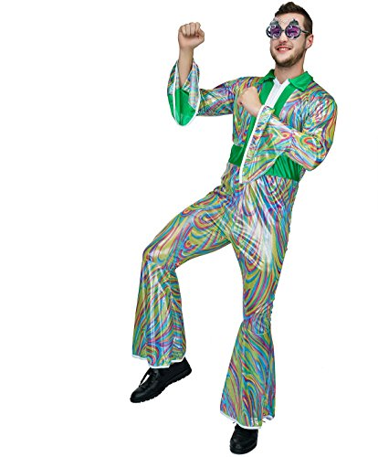 SEA HARE Erwachsene Männer 60er 70er Disco Jumpsuit Fancy Dress (70er Disco Fancy Dress Kostüme)