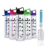 SHEEFLY Motivation Sports Wasserflasche mit Strohhalm, 900ml BPA Frei Tritan Kunststoff mit Zeitmarkierung, Flip-Düse, Nicht-Leck, Ungiftig, für Erwachsene & Kinder Im Freien+2 Strohhalme(Rosa)