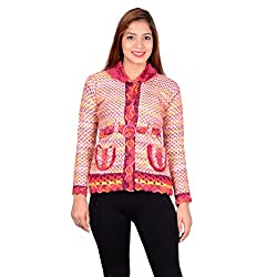 ahhaaaa Women's Wool Quilted Cardigan (RED674_Majenta_XS)