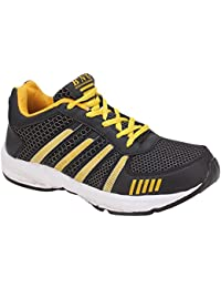 BNG Synthetic Leather Sports Shoes black&yellow (ES-11)