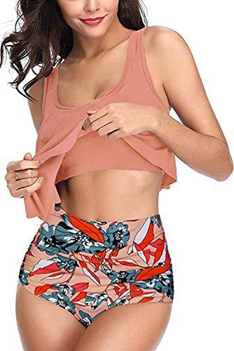 Adisputent Damen Badeanzug mit hoher Taille, Volant, Racerback, Vintage-Stil, Zweiteiliger Bikini - Orange - XX-Large - 3