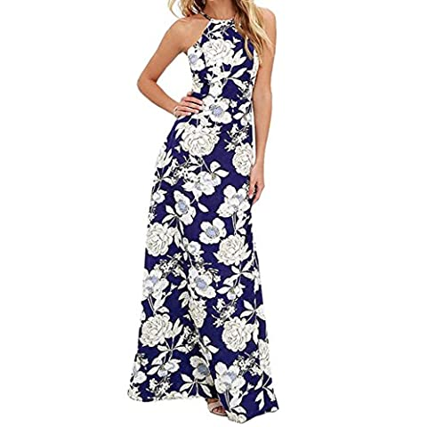 Longue robe de plage LMMVP à fleurs, style dos nu sans manches pour femme, robe d'été S noir foncé