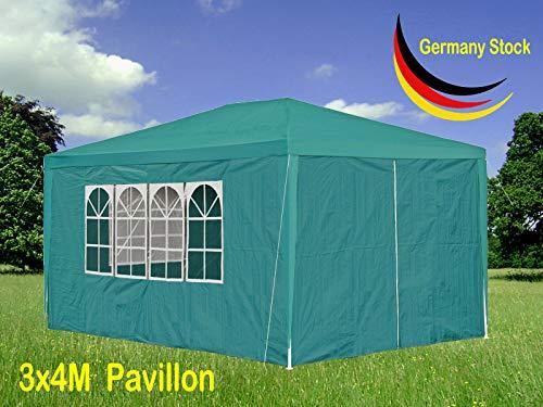 Xinng 3x4M Sofortig Draussen Pavillon PE Wasserdicht Partyzelt Hochzeit Gartenpavillon Pavillonzelt Schutz mit Abnehmbarer Seite Panels Camping Pergola Baldachin (Grün) (Baldachin-panel)