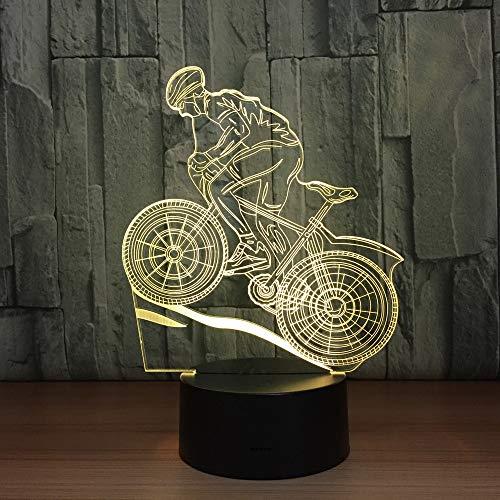Mountain Bike Rider 3D Night Light 7 Colors Changing Led Desk Table Lamp 3D Illusion Sports Fans Gift For Boyfriend Kids (Light Night Bike Rider)