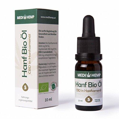 *MEDIHEMP Hanf Bio Öl, CBD in Hanfsamenöl, 5 Prozent, 10ml, 1er Pack (10ml), Original, neuer Spezialverschluß*