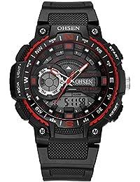 OHSEN Reloj Niños Niñas De Deportivo Impermeable Digital Led Reloj De Moda Multifunción Cronómetro -Rojo