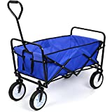 HOMFA Garden Cart Foldable Pull Wagon Hand Cart Camping Trolley Portable Folding Cart Garden Transport Cart 80Kg Load Capacity Outdoor (Blue)