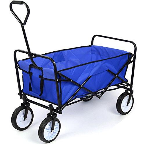 HOMFA Bollerwagen Transportwagen Handwagen Transportkarre faltbar Gartenwagen Gerätewagen 83x53x63cm bis 80 Kg 360° drehbar (Blue)