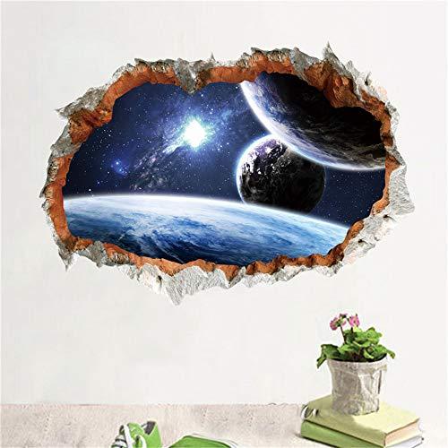 Xcao Galaxy Space Planet Sterne 3D Fenster Poster Gebrochene Wand Kreative Dekorationen Für Kinder Baby Kindergarten Schlafzimmer Wand Stikcer Decor