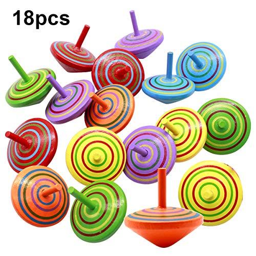 Natuce 18PCS Bunt Spielzeugkreisel aus Holz, Kreisel aus Holz, Kinderspielzeug, Spielzeugkreisel Holzkreisel Farbmischung für Kinder Mitgebsel Geschenk Geburtstag Kinder Party Garden - 4 x 4 x 4 cm