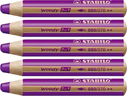 STABILO Woody 3 in 1 matitone colorato colore Lilla - Confezione da 5