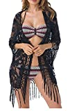 Jusfitsu Damen Sommer Spitzen Bluse Tops Strand Badeanzug Bedecken Pareos Kimono Cardigan Strandkleid (Schwarz, Etikett M = DES)