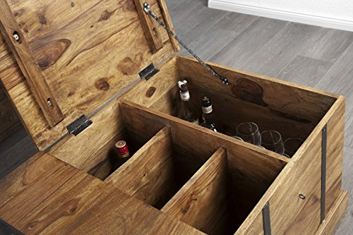 DuNord Design Couchtisch Hausbar BONAIRE 100cm Palisander Sheesham Massivholz Truhe Bar - 5