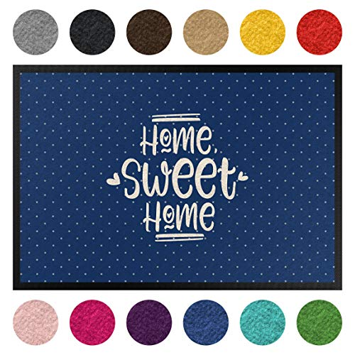 Bilderwelten Fußmatte Gummi Läufer Flormatte Home Sweet Home Polkadots 40 x 60 cm Marine