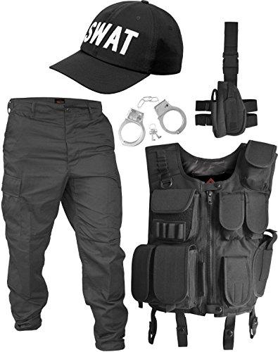 SECURITY Kostüm bestehend aus Weste, Hose, Pistolenholster, Handschellen und Basecap Farbe Schwarz / SWAT Größe M (Handschellen Hosen)
