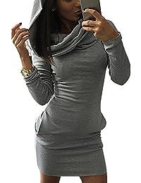 Minetom Mujer Sudadera con Capucha Bodycon del Suéter Jersey Pulóver Camisa Larga Mini Vestidos