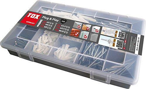 TOX Sortimentskoffer Plug & Play, Inhalt 320 Teile mit Trika 5/31, 6/36, 8/51 Dübeln - Schrauben, 01190101