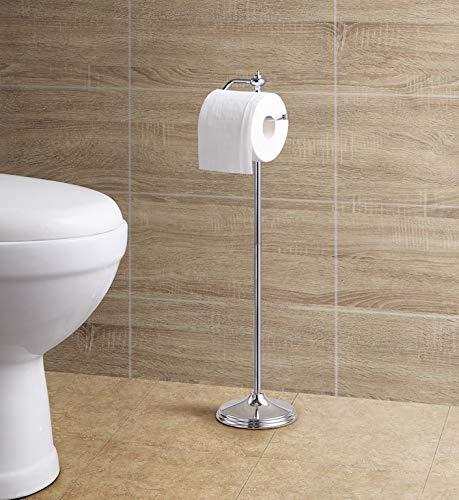 SunnyPoint Badezimmer freistehend WC-Seidenpapier Rolle Halter Ständer mit Reserve Funktion, Chrome Finish -