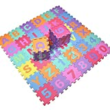 Gadgetking 36PC Soft EVA Foam Baby Children Kids Play Mat Alphabet Number Puzzle Jigsaw Activity Foam Soft Padded -Letters & Numbers