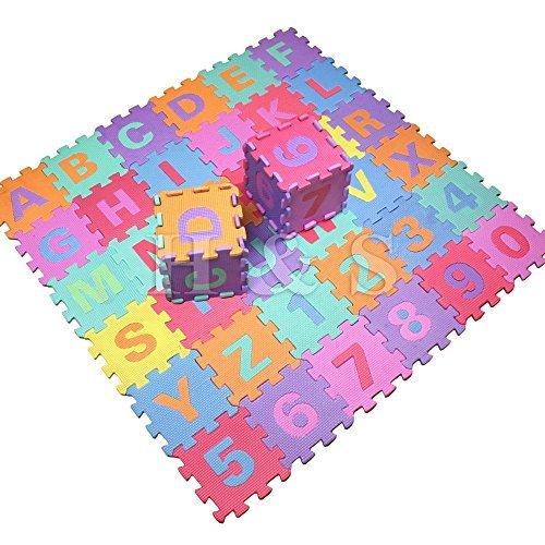 Gadgetking 36Stück weiche EVA Schaum Baby Kinder Spielmatte Alphabet Nummern Puzzle Aktivität Schaum Soft gepolsterte Buchstaben und Zahlen