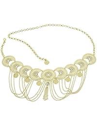 caa5dda895da FASHIONGEN - Ceinture chaîne pendantes à strass pour femme, ...