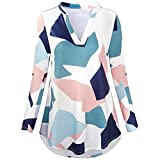 Yvelands Frauen 3/4 Roll Ärmel Shirt Notch Neck Loose Tops Plaid Tunika Bluse