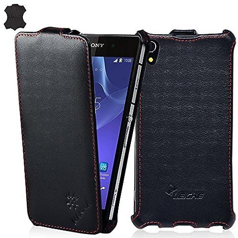 LEICKE MANNA | Étui / Housse / Coque de protection pour Sony Xperia Z2 | Cuir Nappa 'Astana' | Flip Case Cover | Noir avec surpiqûres en