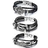 Cupimatch 3pcs Homme Mode Angle Wing infinity Royal Flush Poker Alliage Charm Triple Strand Cuir Noir Bracelet en corde tressée, 21,1- 22,1cm