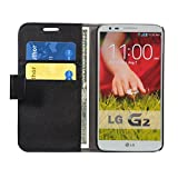 LG G2 (D802) Wallet Cover, Leather Flip Cover Wallet Case With Magnetic Closure -Black