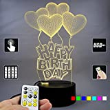 Lampees™ 3D Illusion LED Lamp Happy BirthDay Balloons with 7 colors change and Flashing Effect also comes with remote and USB cable can also use with AA size batteries