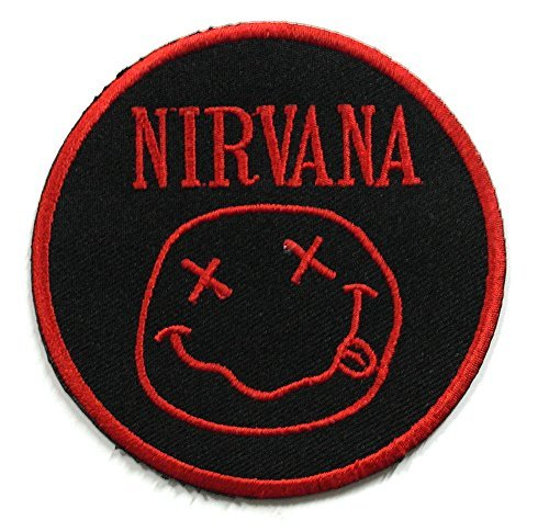 NIRVANA004 - Red Nirvana Patch - Rock Band Patches - Logo Patches - Applique Embroidered patches - Iron on Patches - Backpack Patches - Nirvana Patches Size 7.75 x 7.75 Cm. by Asian 108 Markets - Applique Rock