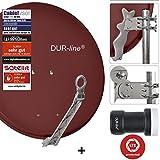 DUR-line 1 Teilnehmer Set - Qualitäts-Alu-Sat-Anlage - Select 75/80cm Spiegel/Schüssel Rot + DUR-line Single LNB - Satelliten-Komplettanlage - für 1 Receiver/TV [Neuste Technik - DVB-S/S2, Full HD, 4K/UHD, 3D]
