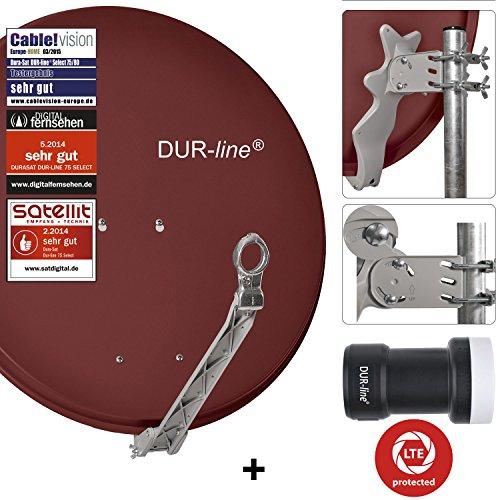 DUR-line 1 Teilnehmer Set - Qualitäts-Alu-Satelliten-Komplettanlage - Select 75/80cm Spiegel/Schüssel Rot + Single LNB - für 1 Receiver/TV [Neuste Technik, DVB-S2, 4K, 3D]