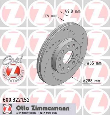 Zimmermann 600.3221.52 Disco Freno, Anteriore, Perforato, Sport Coat Z