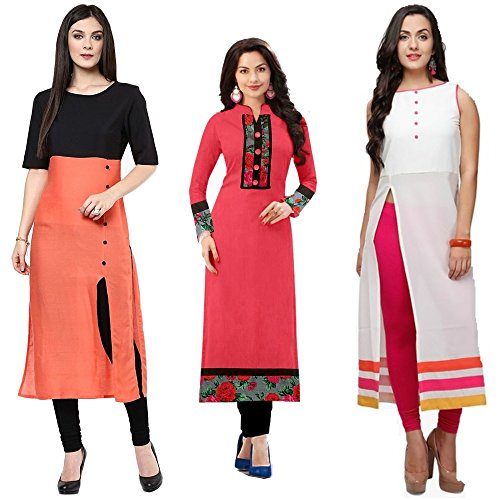 Set Of 3 New Cotton Semi Stiched Kurti By Kesari King((Kurtis for...