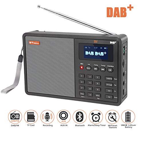"""DAB Radios, SAVORI 1.8\""""LCD Display tragbare FM DAB Radio + Support TF Karte + Support Upgrade + RDS Aufnahmefunktion,über 90 voreingestellte Sender Digital Radio mit Antenne"""