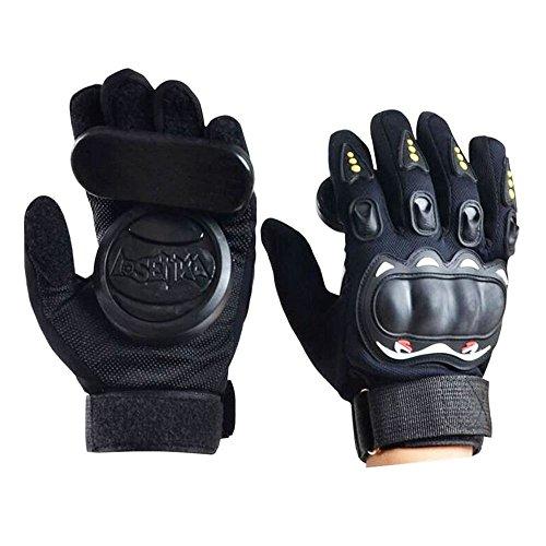 Estándar Longboard Downhill tobogán guantes Guantes de patinaje con 2 Set reemplazable Slider Puck Set … (Negro)