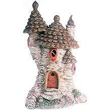Funciona con energía solar con iluminación/vivienda casa de hadas adorno de jardín cono de pino Cottage