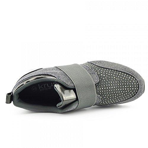 Femme Casual Formateurs Baskets à paillettes scintillant Pompes Chaussures à lacets Gris