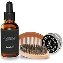 Kit Cuidado de Barba 4 pcs,Breett Cepillo Para Barba, Peine Para Barba, Aceite Para Barba 30mL,Balsamo Barba 30g