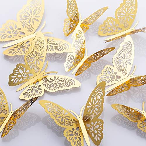 MWOOT 48Stk 3D Schmetterlinge Sticker für Wanddeko, (Golden/Silber) Wanddeko Aufkleber für Geburtstagsdeko Hochzeitsdeko Schlafzimmerdeko -