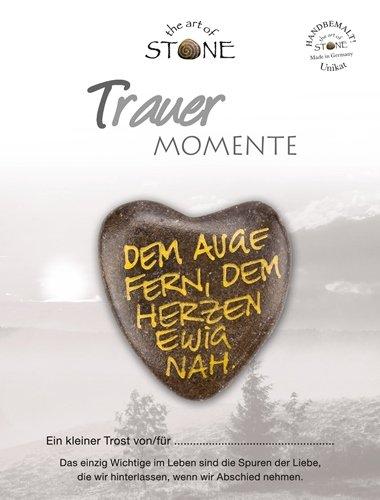 The Art of Stone Trauer Momente Marmorsteinherz Dem Auge fern, dem Herzen ewig nah Unikat - Hand beschriftet Trauerbegleiter Trost Grabbeigabe