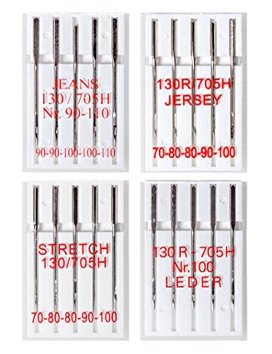 20 Nähmaschinennadeln (Jersey, Leder, Stretch und Jeans)