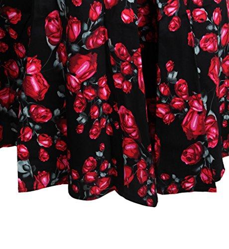Surenow Robe vintage Rockabilly Floral Rétro Plissé Noir