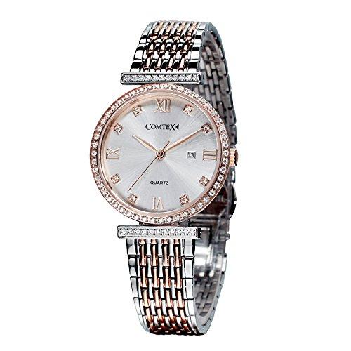 Comtex Damenuhren mit Edelstahl Armband Rose Gold Schweizer Quarz Uhren Datum Fenster (Schweizer Rose Gold Watch)