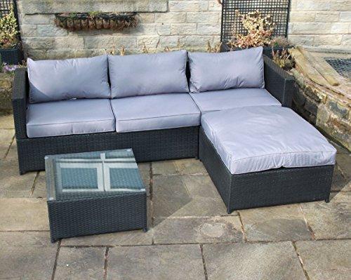 rattan outdoor 4 seat corner sofa patio garden furniture in black garden rattan furniture