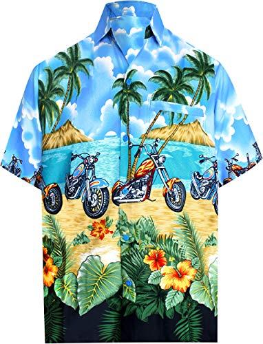 LA LEELA männer Hawaiihemd Kurzarm Button Down Kragen Fronttasche Beach Strand Hemd Manner Urlaub Casual Herren Aloha Hellblau_338 4XL Likre 1145 -