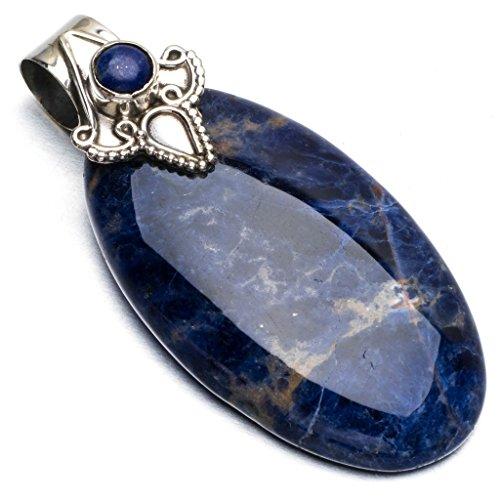 stargems-tm-naturel-sodalite-bleu-marine-et-lapis-lazuli-punk-style-vintage-argent-sterling-925pende
