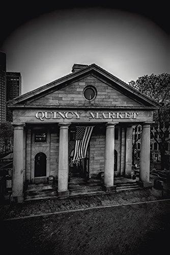 Artland QualitätsbilderWandtattoo Wandsticker Wandaufkleber 60 x 90 cm Städte Amerika Boston Foto Schwarz Weiß C7ZK Boston Quincy Market (Quincy Market)