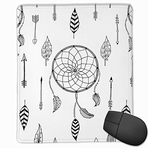 Preisvergleich Produktbild Mouse Mat Stitched Edges,  Ethnic Anthique Authentic Tribal Dreamcatchers Feathers And Arrows Design Western, Gaming Mouse Pad Non-Slip Rubber Base